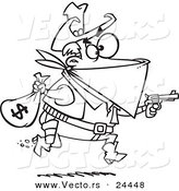 Vector of a Cartoon Black Bart Outlaw Stealing Money - Outlined Coloring Page by Ron Leishman
