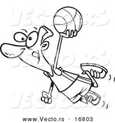 Vector of a Cartoon Black Basketball Player Flying - Coloring Page Outline by Toonaday