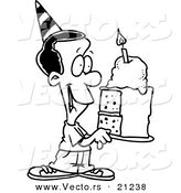 Vector of a Cartoon Black Birthday Boy Holding a Slice of Cake - Coloring Page Outline by Toonaday
