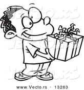 Vector of a Cartoon Black Boy Holding a Gift Box - Coloring Page Outline by Toonaday