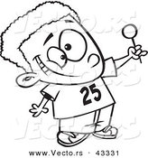 Vector of a Cartoon Black Boy Holding out a Lollipop - Coloring Page Outline by Toonaday