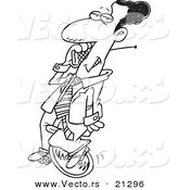 Vector of a Cartoon Black Businessman Talking on a Cell Phone on Unicycle - Outlined Coloring Page by Toonaday