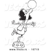 Vector of a Cartoon Black Businesswoman Balancing a Ball on Her Nose - Outlined Coloring Page Drawing by Toonaday