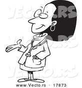 Vector of a Cartoon Black Female Doctor - Outlined Coloring Page by Toonaday