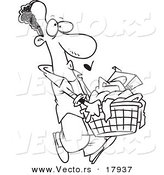 Vector of a Cartoon Black Man Carrying a Laundry Basket - Outlined Coloring Page by Toonaday
