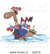 Vector of a Cartoon Black Man Falling While Ice Skating by Toonaday
