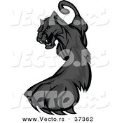 Vector of a Cartoon Black Panther Striking out with Its Paw and Claws by Chromaco