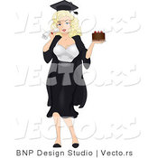 Vector of a Cartoon Blond Graduation Pinup Girl Holding Chocolate Cake by BNP Design Studio