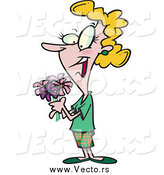December 27th, 2014: Vector of a Cartoon Blond White Woman Holding a Bouquet by Ron Leishman