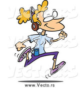 February 23rd, 2015: Vector of a Cartoon Blond White Woman Listening to Music and Running by Toonaday
