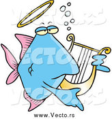 Vector of a Cartoon Blue Angelfish Playing a Lyre by Toonaday