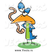 Vector of a Cartoon Blue Bird Eating a Worm by Toonaday
