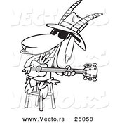 Vector of a Cartoon Blues Goat Musician Playing a Guitar - Outlined Coloring Page by Toonaday