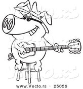 Vector of a Cartoon Blues Pig Musician Playing a Guitar - Outlined Coloring Page by Toonaday