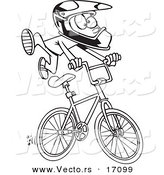 Vector of a Cartoon BMX Boy - Coloring Page Outline by Toonaday