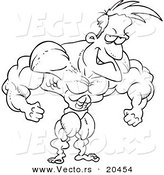 Vector of a Cartoon Bodybuilder Flexing - Coloring Page Outline by Toonaday