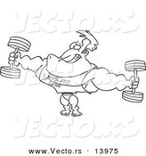 Vector of a Cartoon Bodybuilder Wearing a Look at Me Shirt and Lifting Weights - Coloring Page Outline by Ron Leishman