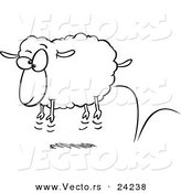 Vector of a Cartoon Bouncing Sheep - Coloring Page Outline by Ron Leishman
