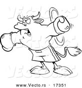 Vector of a Cartoon Boxing Bull - Coloring Page Outline by Toonaday