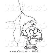 Vector of a Cartoon Boy Afraid of Lightning - Outlined Coloring Page by Toonaday