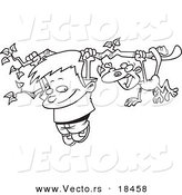Vector of a Cartoon Boy and a Monkey Hanging from a Tree Branch - Outlined Coloring Page by Toonaday