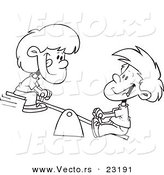 Vector of a Cartoon Boy and Girl on a Teeter Totter - Coloring Page Outline by Toonaday