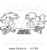 Vector of a Cartoon Boy and Girl Playing Chess - Outlined Coloring Page by Toonaday