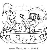 Vector of a Cartoon Boy and Girl Playing in a Kiddie Pool - Outlined Coloring Page by Toonaday