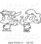 Vector of a Cartoon Boy and Girl Playing with Puppets - Outlined Coloring Page by Toonaday