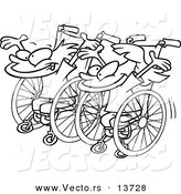 Vector of a Cartoon Boy and Girl Ready for a Wheelchair Race - Coloring Page Outline by Toonaday