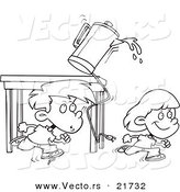 Vector of a Cartoon Boy and Girl Running and Knocking over a Coffee Pot - Outlined Coloring Page by Toonaday