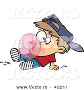 Vector of a Cartoon Boy Blowing a Big Bubble with Gum by Toonaday