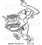 Vector of a Cartoon Boy Carrying a Heavy Fast Food Tray - Coloring Page Outline by Toonaday