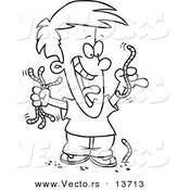 Vector of a Cartoon Boy Collecting Worms - Coloring Page Outline by Toonaday