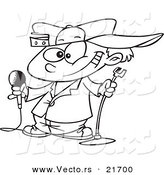 Vector of a Cartoon Boy Comedian - Outlined Coloring Page by Toonaday