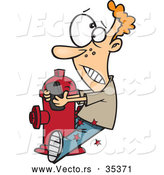 Vector of a Cartoon Boy Crashing into a Fire Hydrant While Texting on His Smart Phone by Toonaday