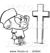 Vector of a Cartoon Boy Crying at a Soldiers Grave on Memorial Day - Outlined Coloring Page by Toonaday