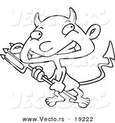 Vector of a Cartoon Boy Devil - Outlined Coloring Page by Toonaday