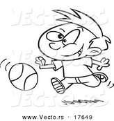 Vector of a Cartoon Boy Dribbling a Basketball - Coloring Page Outline by Toonaday
