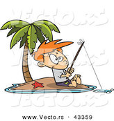 Vector of a Cartoon Boy Fishing by Himself on a Lonely Tropical Island by Toonaday