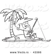 Vector of a Cartoon Boy Fishing by Himself on an Island - Coloring Page Outline by Toonaday