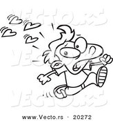 Vector of a Cartoon Boy Fleeing from Love - Outlined Coloring Page by Toonaday
