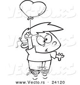 Vector of a Cartoon Boy Floating with a Love Risk Heart Balloon - Coloring Page Outline by Toonaday