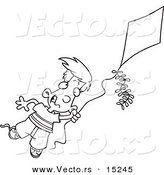 Vector of a Cartoon Boy Flying a Kite - 1 - Coloring Page Outline by Toonaday