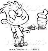 Vector of a Cartoon Boy Going Overboard on Toothpaste - Coloring Page Outline by Toonaday