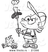 Vector of a Cartoon Boy Holding a Burnt Weenie over a Fire - Outlined Coloring Page by Toonaday