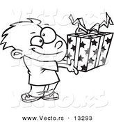 Vector of a Cartoon Boy Holding a Gift Box - Coloring Page Outline by Toonaday