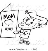 Vector of a Cartoon Boy Holding a Mothers Day Card - Coloring Page Outline by Toonaday