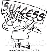 Vector of a Cartoon Boy Holding a Success Banner - Outlined Coloring Page by Toonaday
