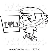 Vector of a Cartoon Boy Holding an I Love You Sign - Coloring Page Outline by Toonaday